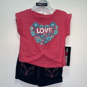 Limited Too girls LOVE floral 2pc set
